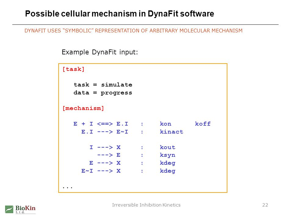 Possible cellular mechanism in DynaFit software