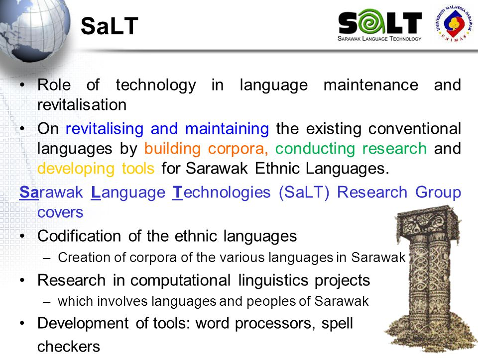 SaLT Role of technology in language maintenance and revitalisation