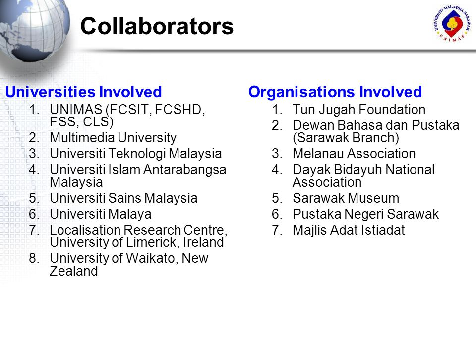 Collaborators Universities Involved Organisations Involved