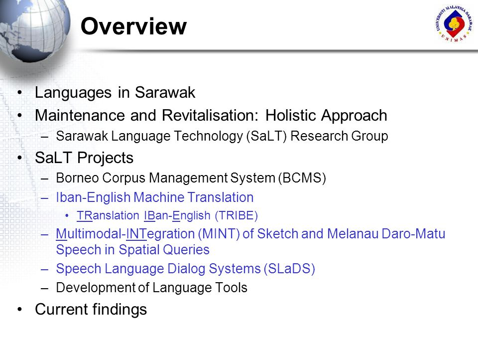 Overview Languages in Sarawak