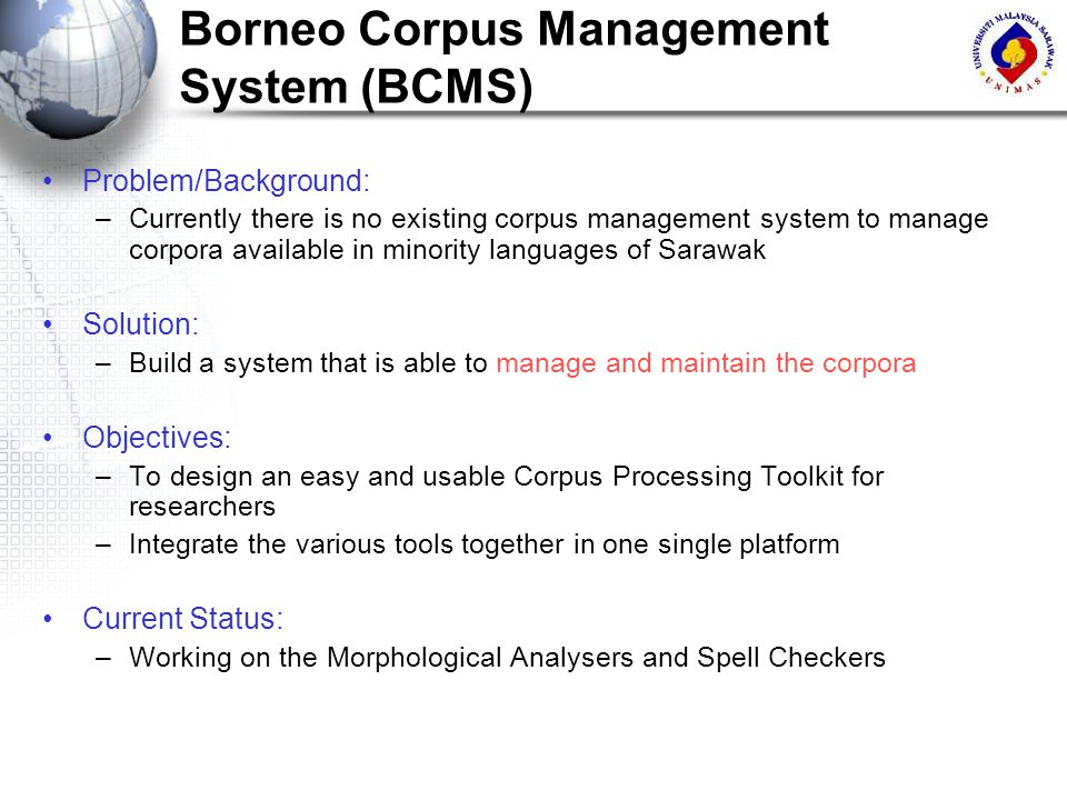 Borneo Corpus Management System (BCMS)