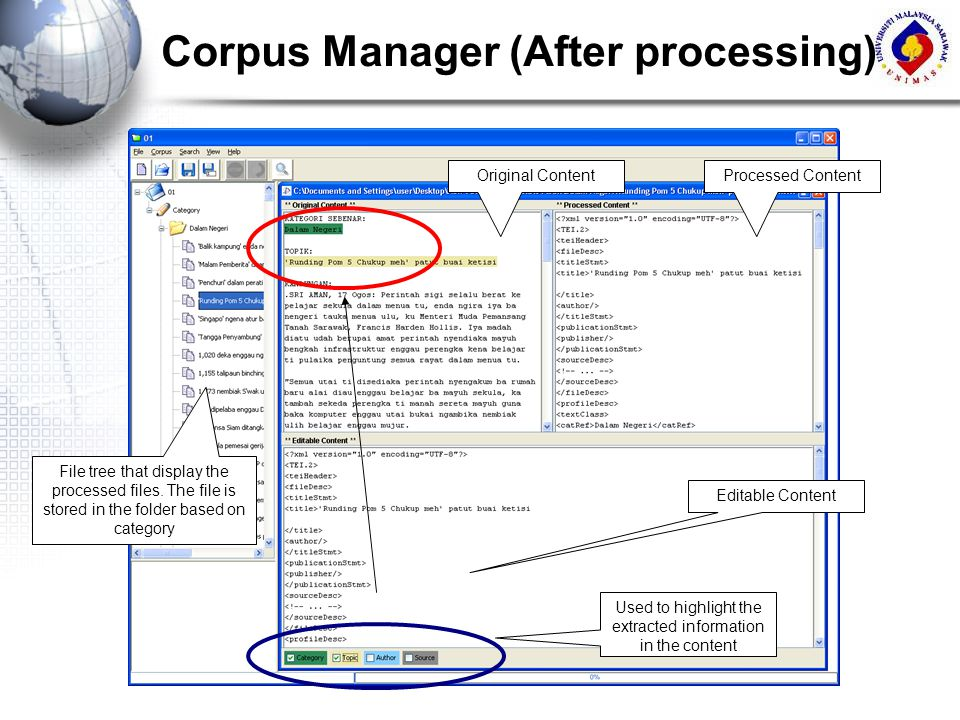 Corpus Manager (After processing)
