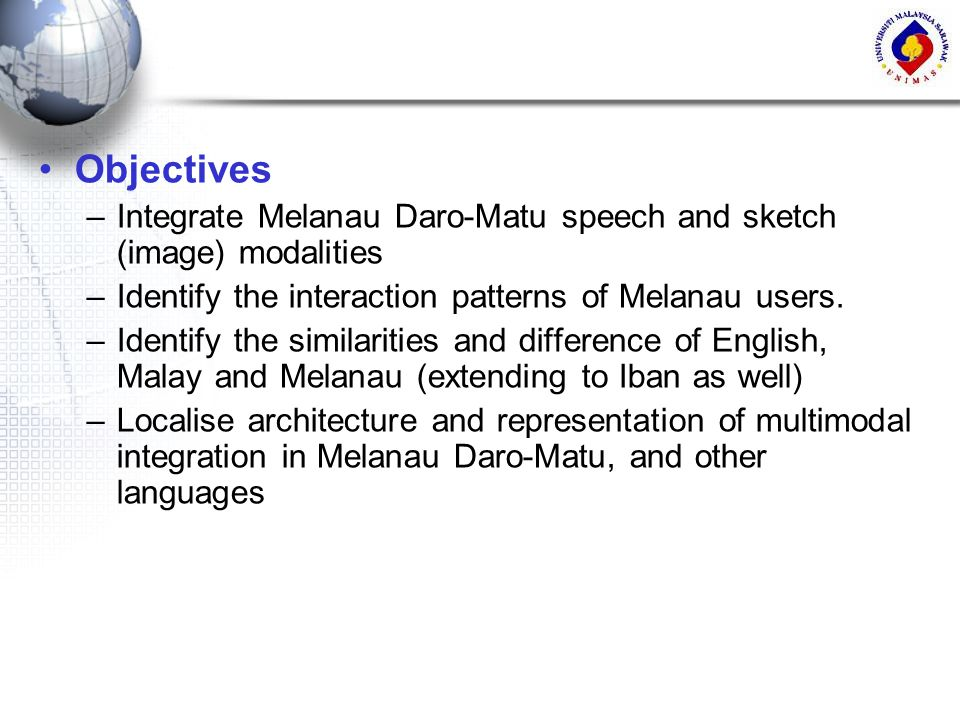 Objectives Integrate Melanau Daro-Matu speech and sketch (image) modalities. Identify the interaction patterns of Melanau users.