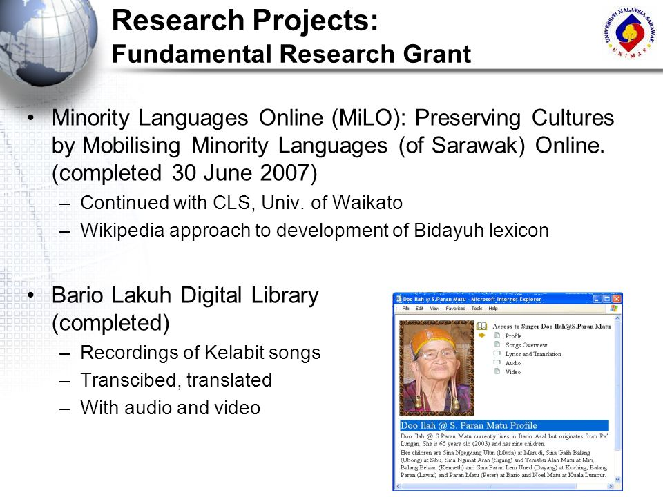 Research Projects: Fundamental Research Grant
