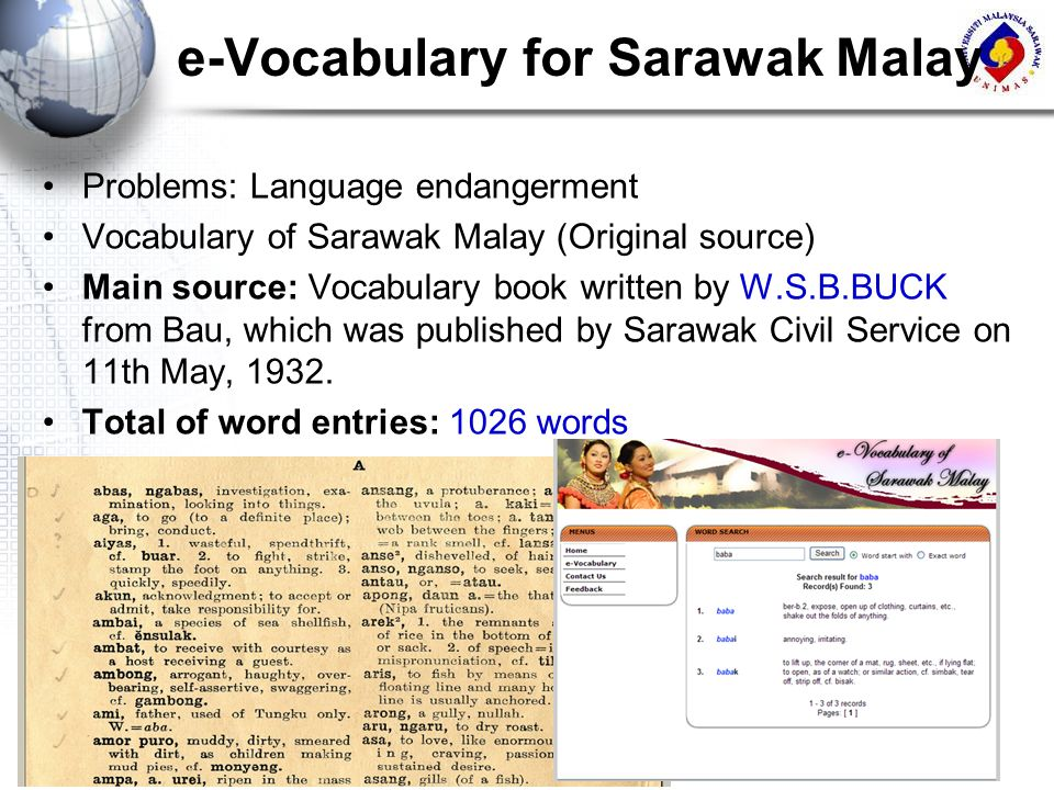e-Vocabulary for Sarawak Malay