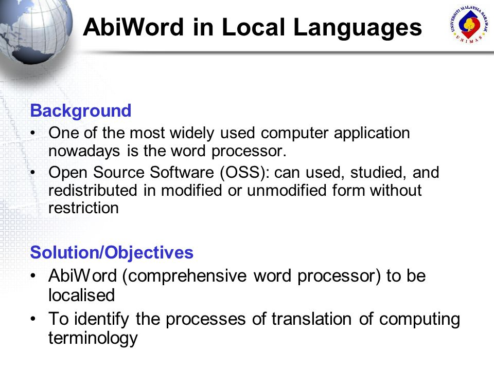 AbiWord in Local Languages