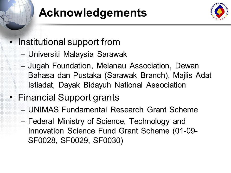 Acknowledgements Institutional support from Financial Support grants