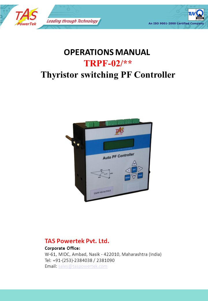 Thyristor switching PF Controller