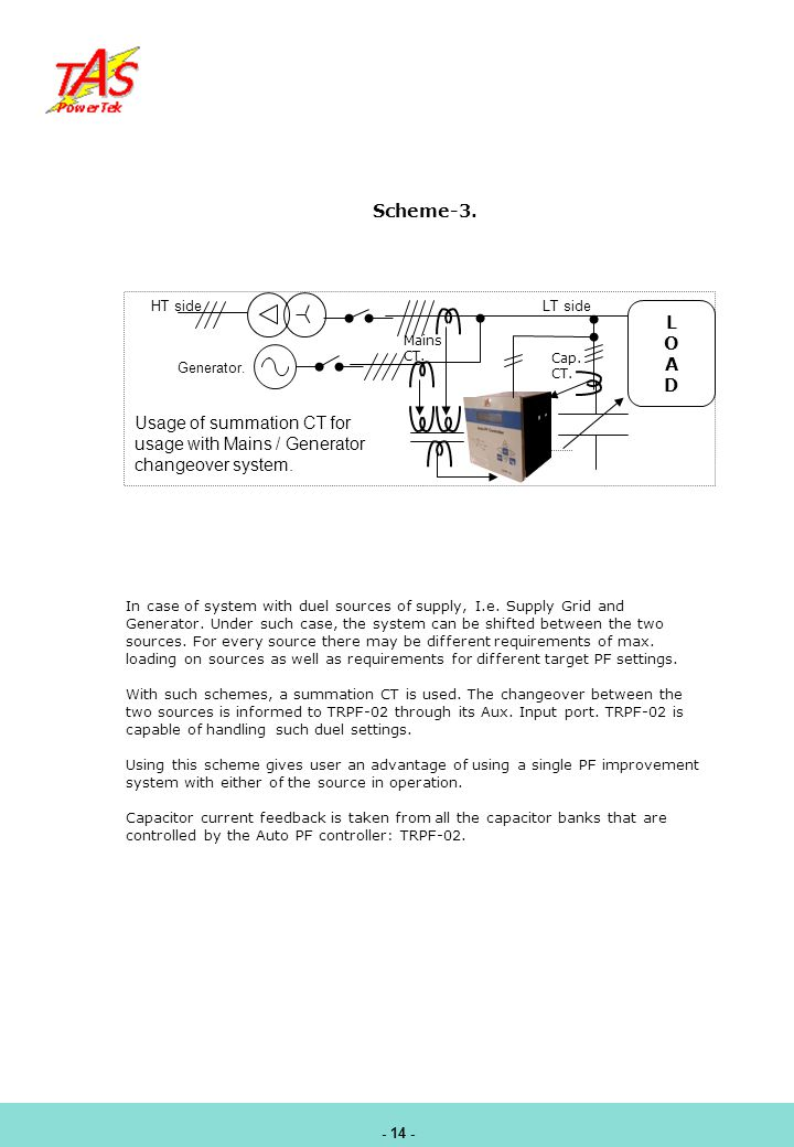 Usage of summation CT for usage with Mains / Generator