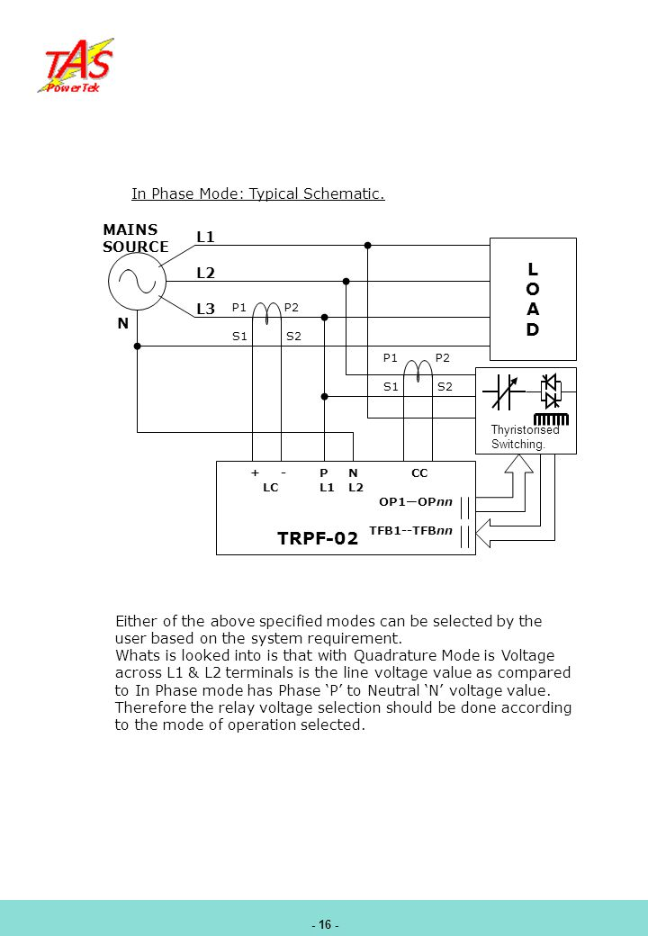 L O A D TRPF-02 In Phase Mode: Typical Schematic. MAINS SOURCE L1 L2