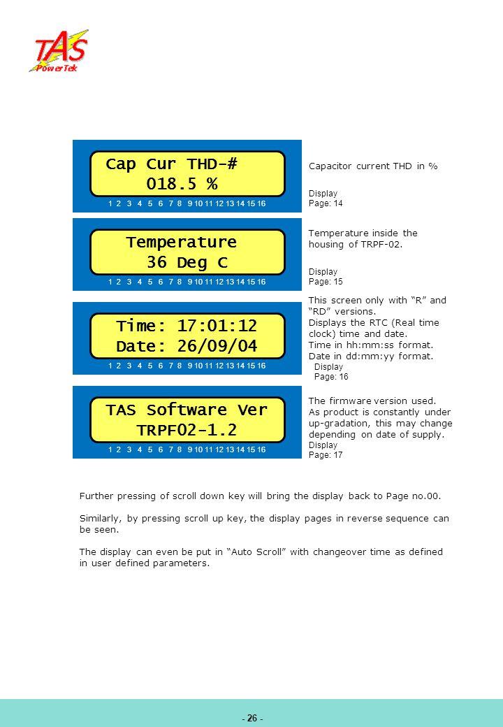 Cap Cur THD-# 018.5 % Temperature 36 Deg C Time: 17:01:12