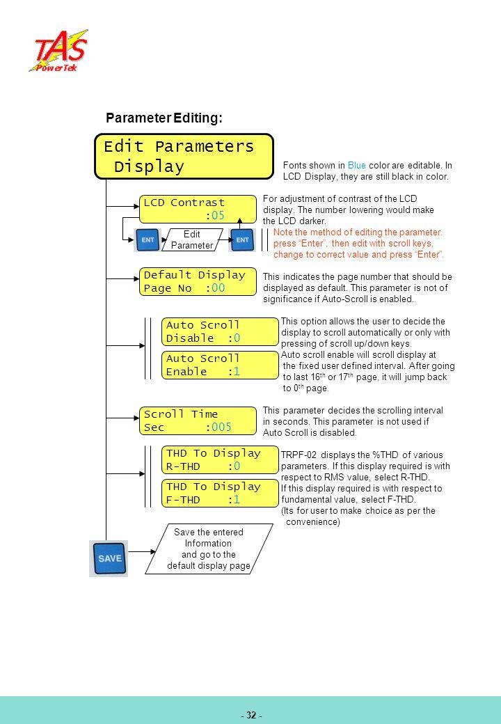 Edit Parameters Display Parameter Editing: LCD Contrast :05