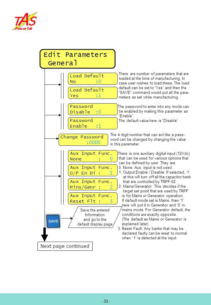 Edit Parameters General Load Default No :0 Load Default Yes :1