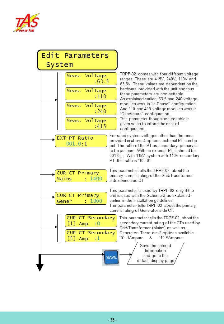 Edit Parameters System Meas. Voltage :63.5 :110 :240 :415 EXT-PT Ratio