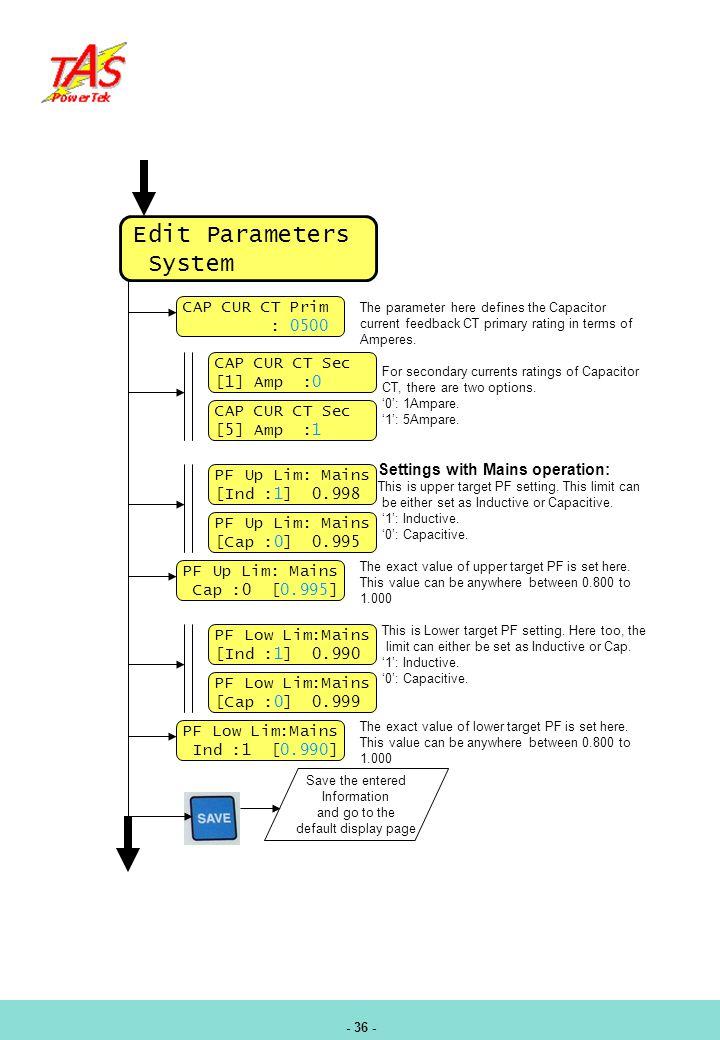 Edit Parameters System CAP CUR CT Prim : 0500 CAP CUR CT Sec