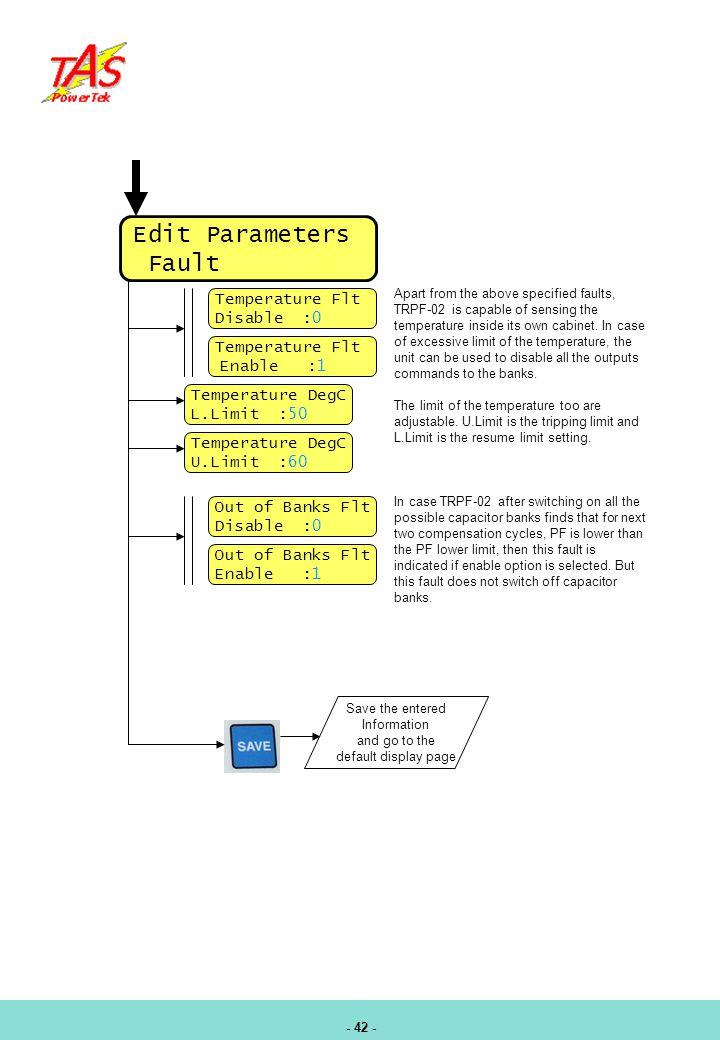 Edit Parameters Fault Temperature Flt Disable :0 Enable :1