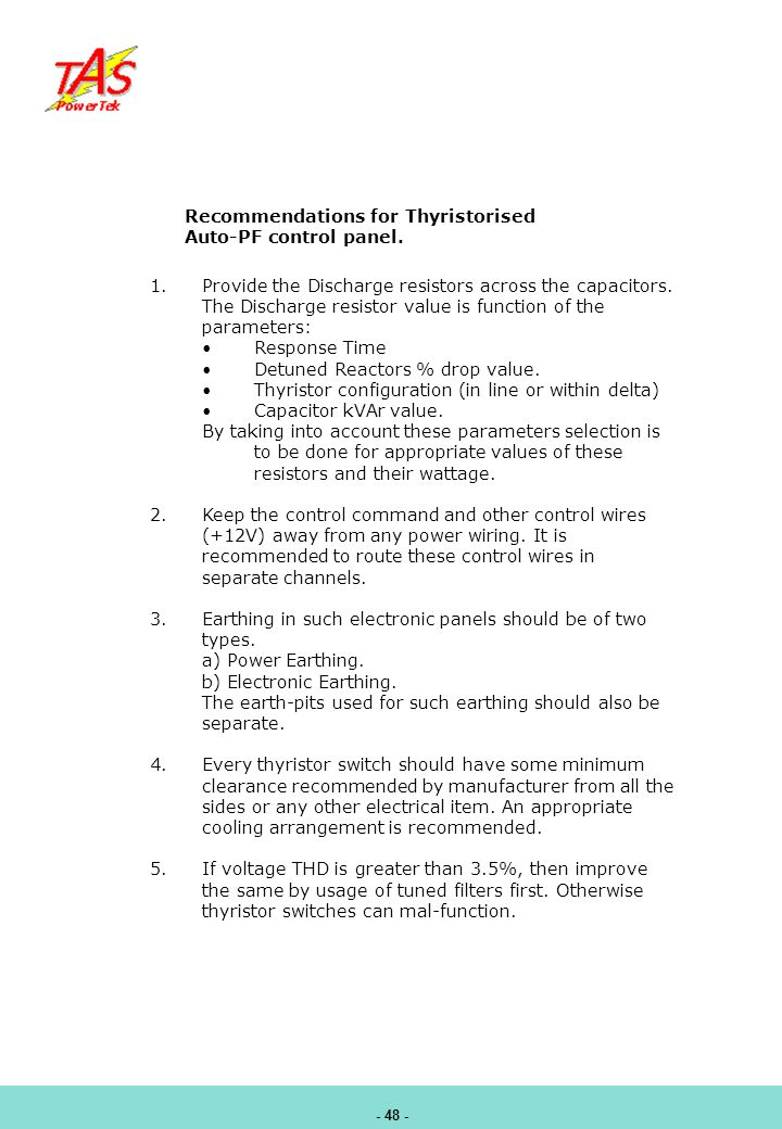 Recommendations for Thyristorised Auto-PF control panel.