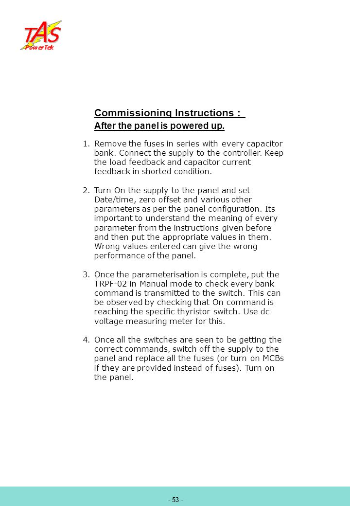 Commissioning Instructions :