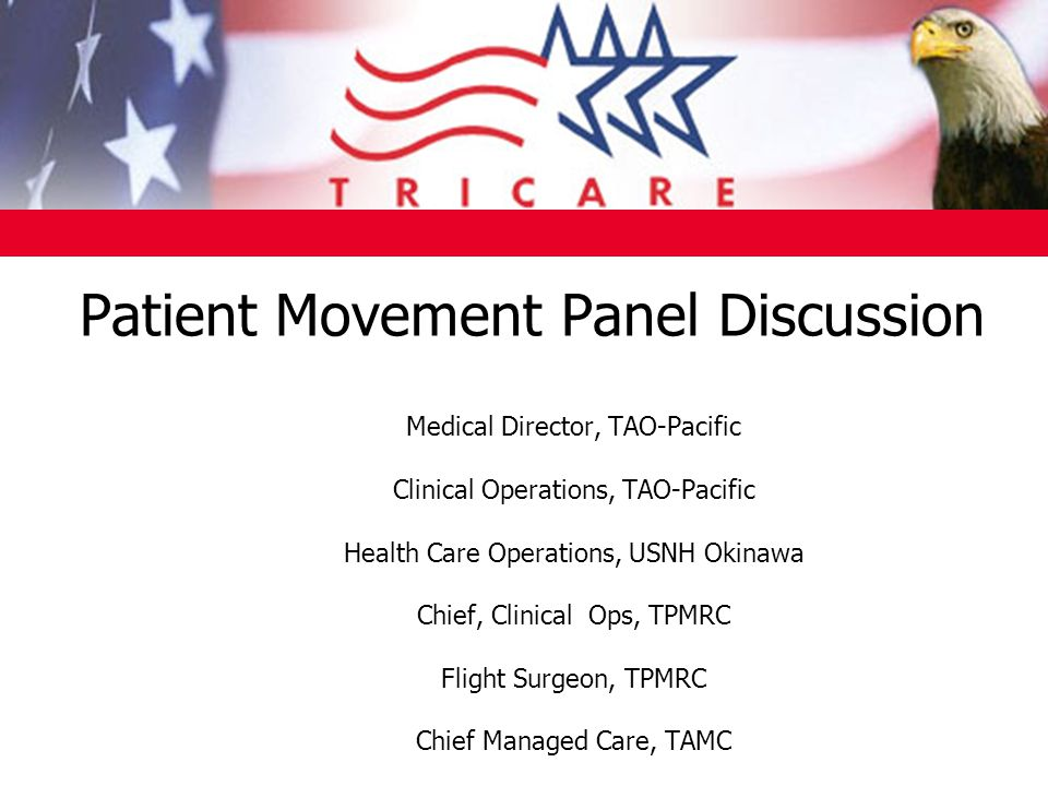Patient Movement Panel Discussion Medical Director, TAO-Pacific Clinical Operations, TAO-Pacific Health Care Operations, USNH Okinawa Chief, Clinical Ops, TPMRC Flight Surgeon, TPMRC Chief Managed Care, TAMC