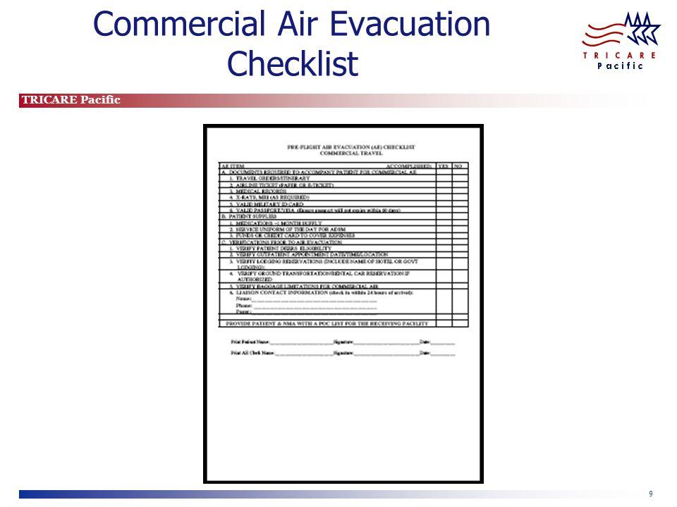 Commercial Air Evacuation Checklist