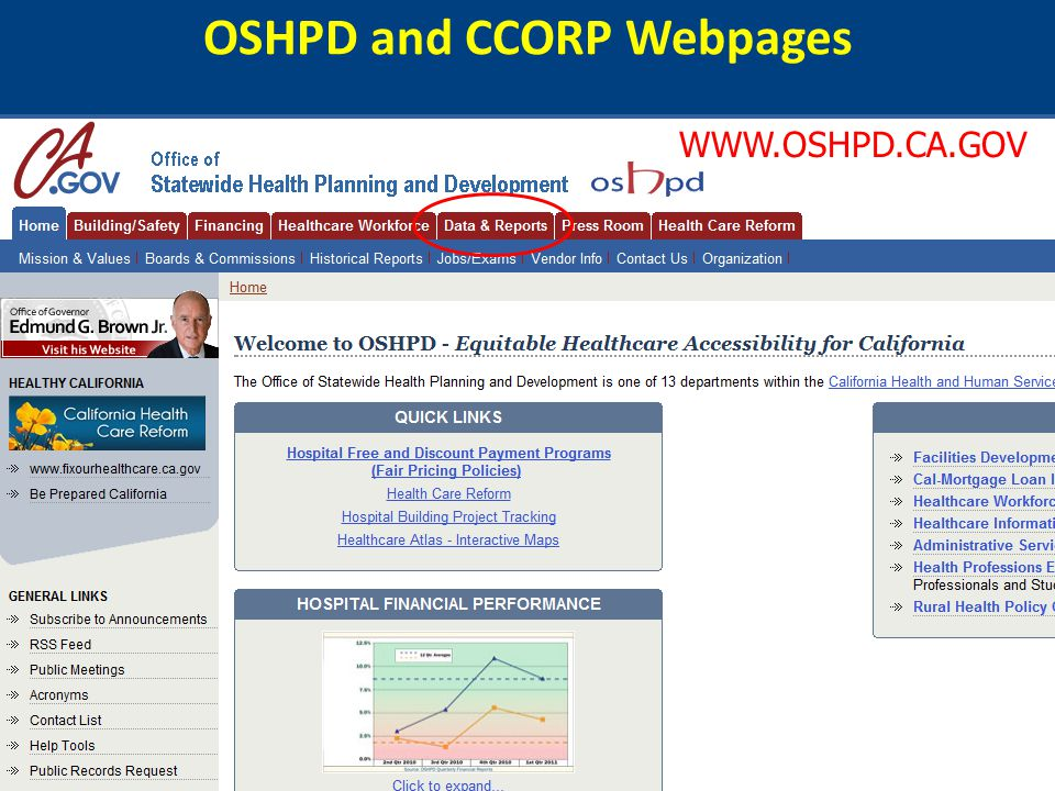 OSHPD and CCORP Webpages