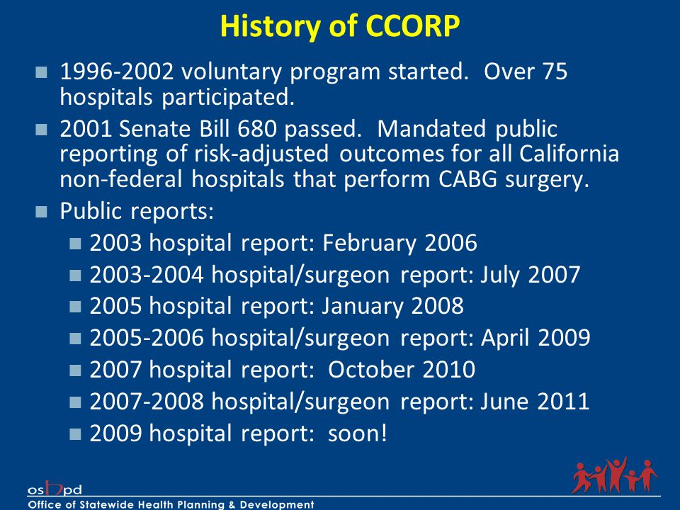 History of CCORP 1996-2002 voluntary program started. Over 75 hospitals participated.