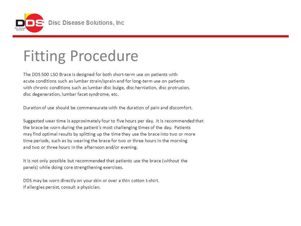 Fitting Procedure Disc Disease Solutions, Inc
