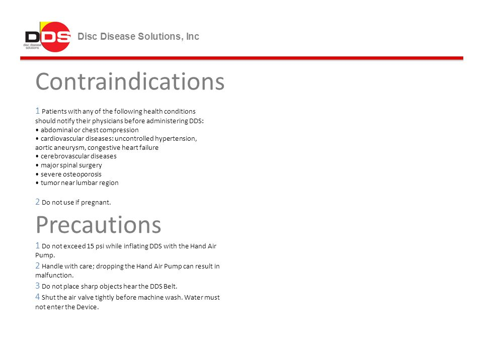 Contraindications Precautions Disc Disease Solutions, Inc