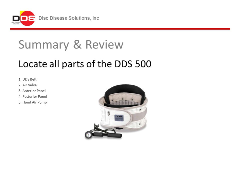 Summary & Review Locate all parts of the DDS 500