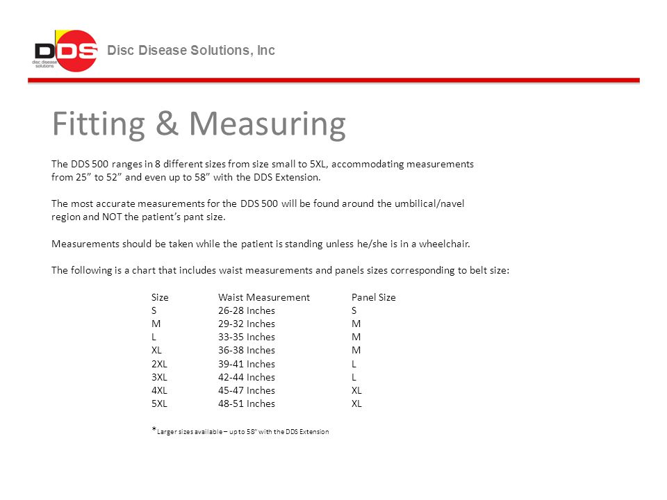 Fitting & Measuring Disc Disease Solutions, Inc