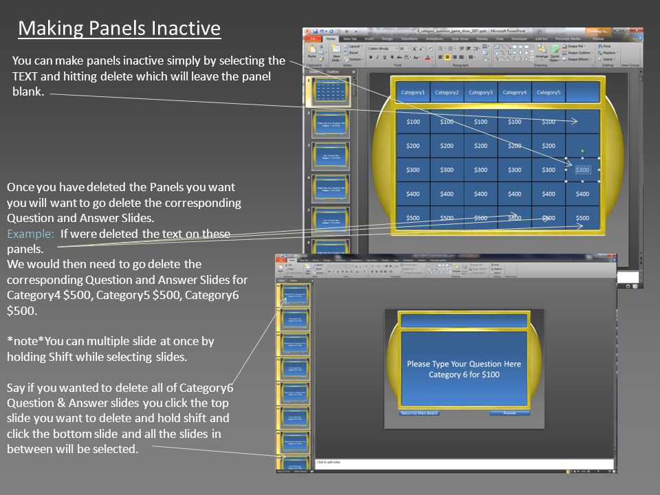 Making Panels Inactive