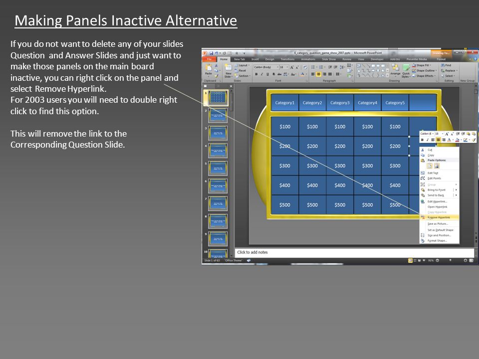 Making Panels Inactive Alternative