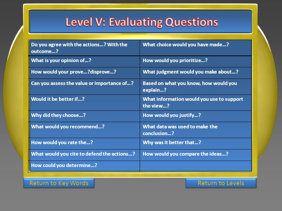 Level V: Evaluating Questions