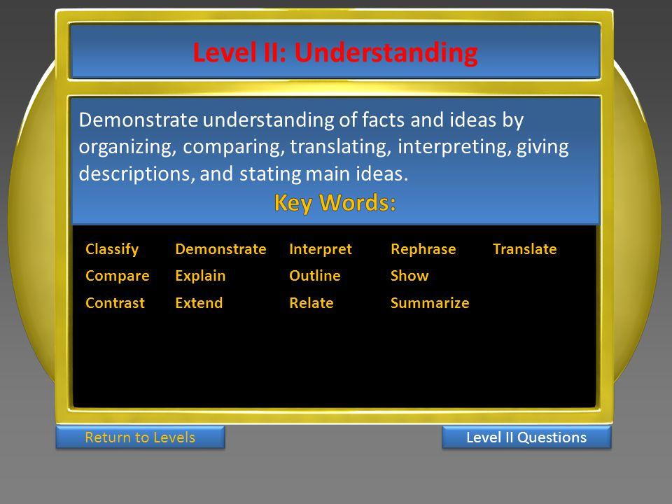 Level II: Understanding