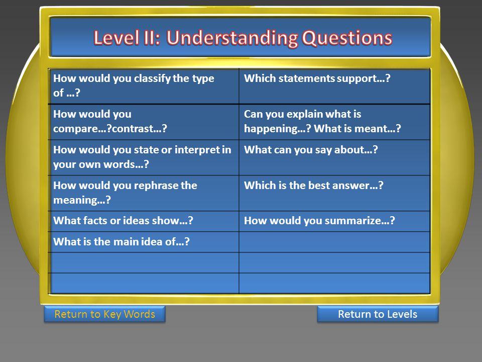 Level II: Understanding Questions