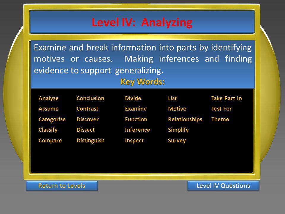 Level IV: Analyzing