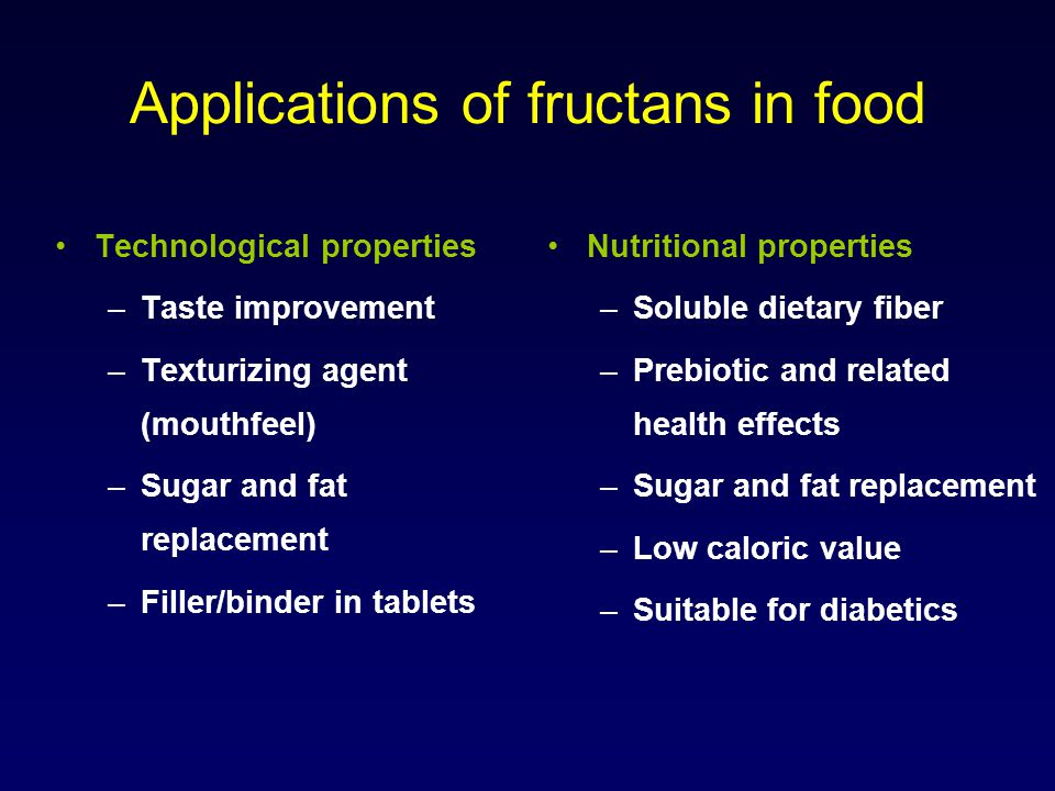 Applications of fructans in food