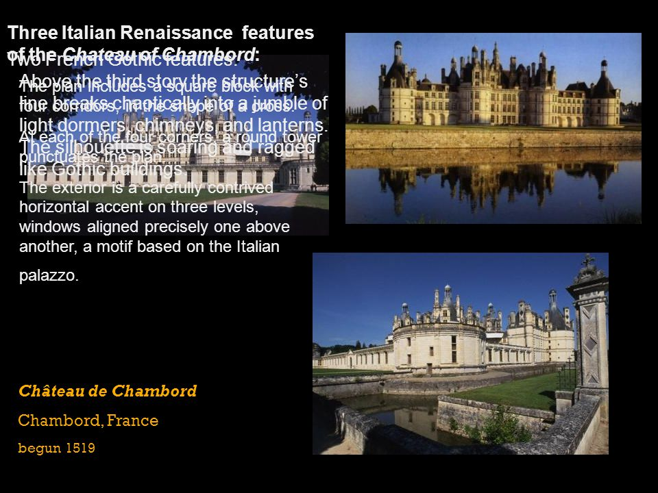 Three Italian Renaissance features of the Chateau of Chambord: