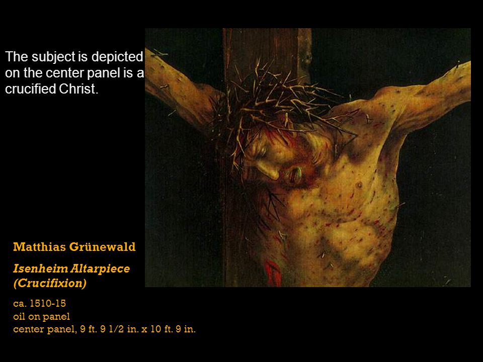 The subject is depicted on the center panel is a crucified Christ.