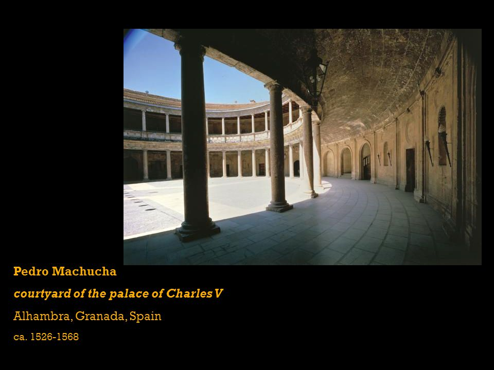 courtyard of the palace of Charles V Alhambra, Granada, Spain