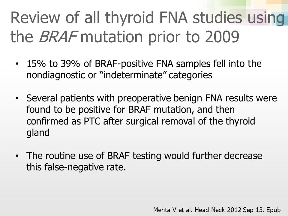 Review of all thyroid FNA studies using the BRAF mutation prior to 2009