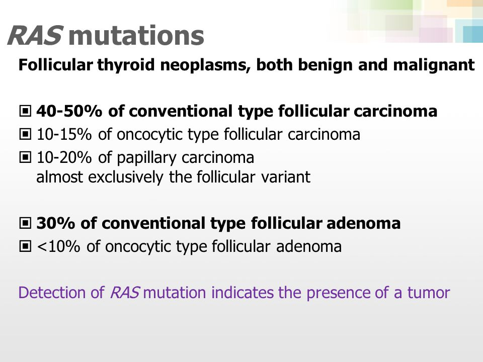 RAS mutations Follicular thyroid neoplasms, both benign and malignant
