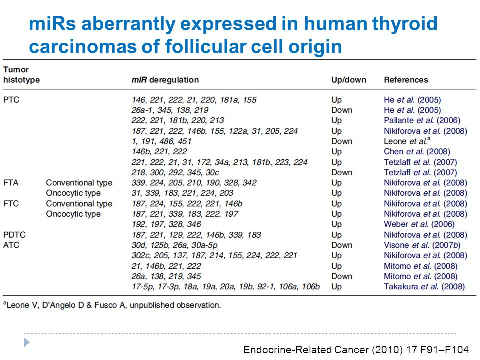 miRs aberrantly expressed in human thyroid carcinomas of follicular cell origin