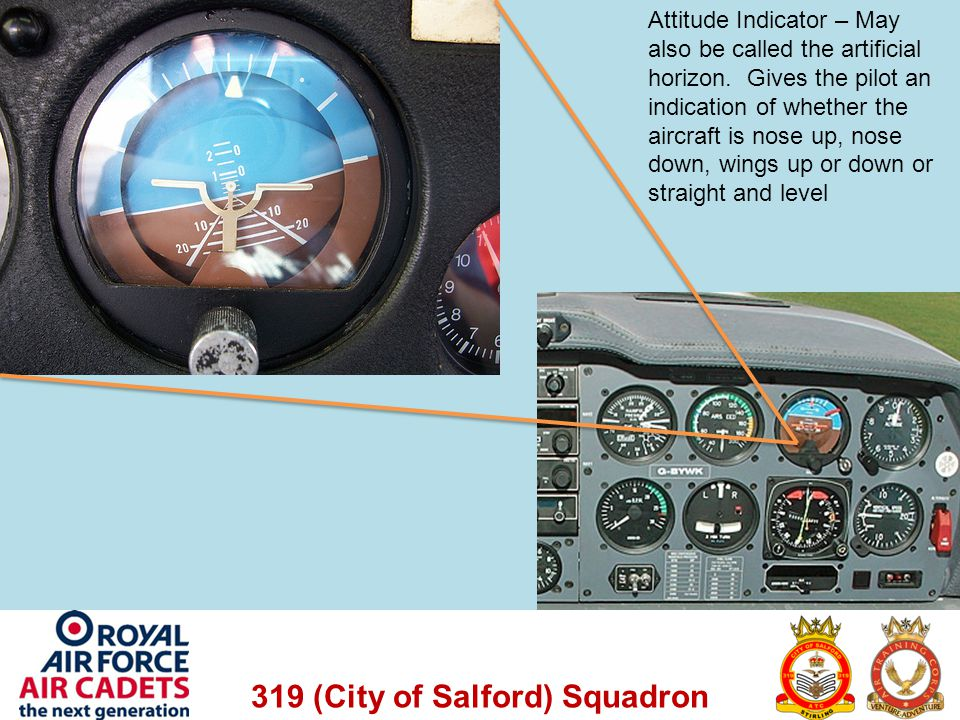 Attitude Indicator – May also be called the artificial horizon