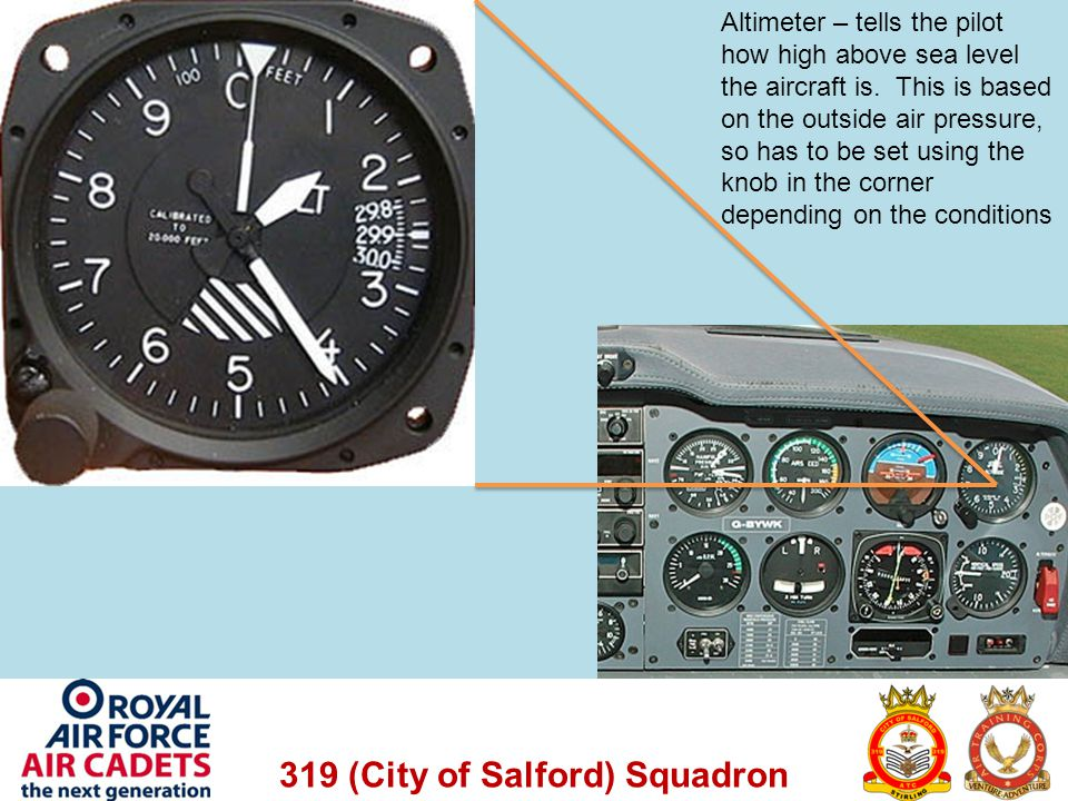Altimeter – tells the pilot how high above sea level the aircraft is