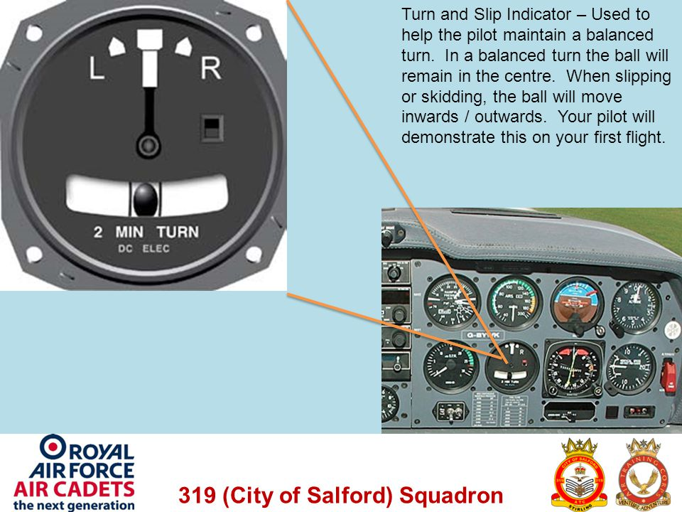 Turn and Slip Indicator – Used to help the pilot maintain a balanced turn.