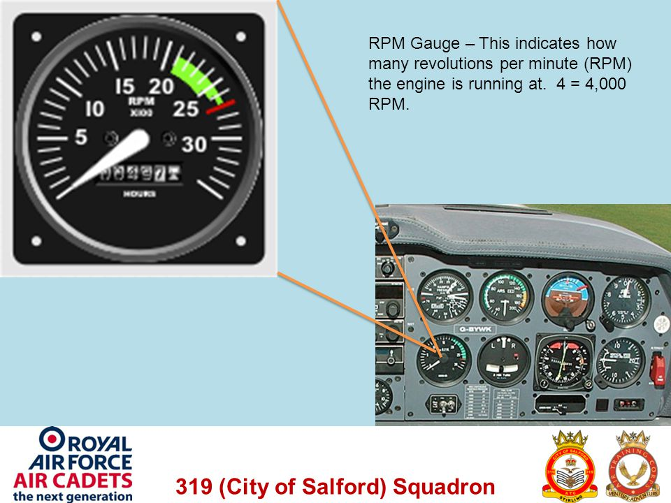 RPM Gauge – This indicates how many revolutions per minute (RPM) the engine is running at.