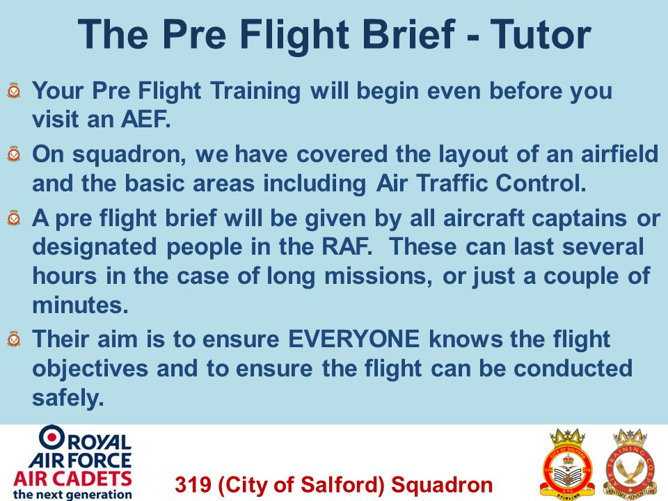 The Pre Flight Brief - Tutor