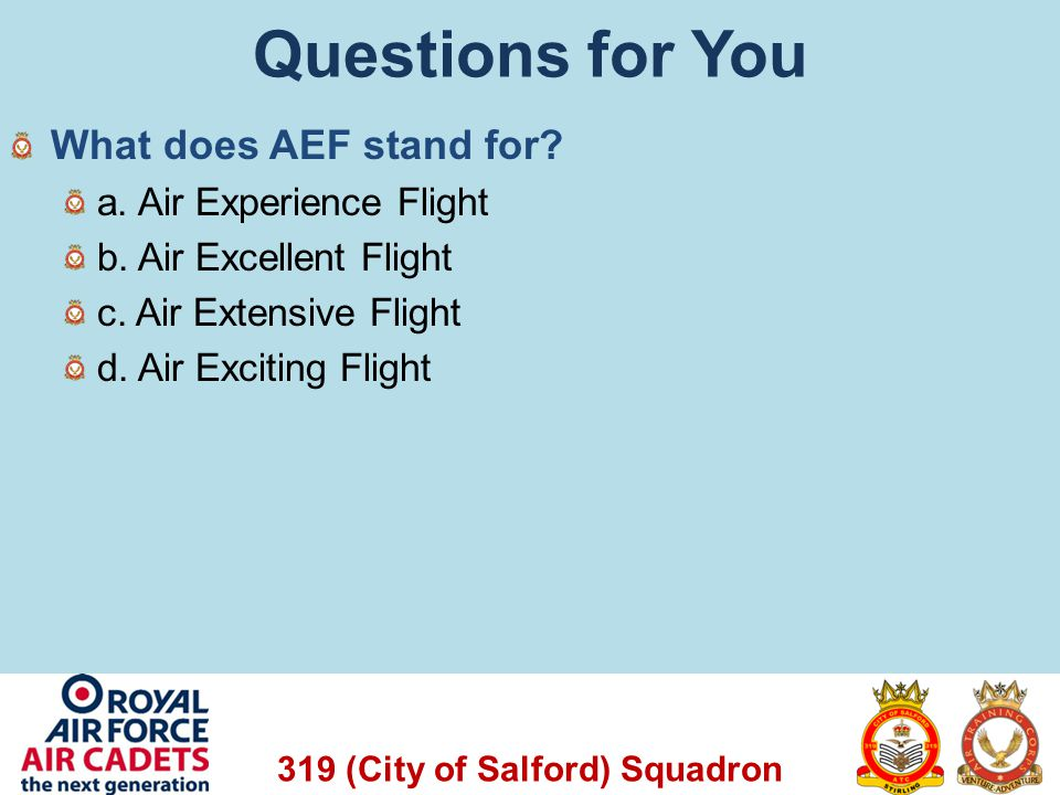Questions for You What does AEF stand for a. Air Experience Flight