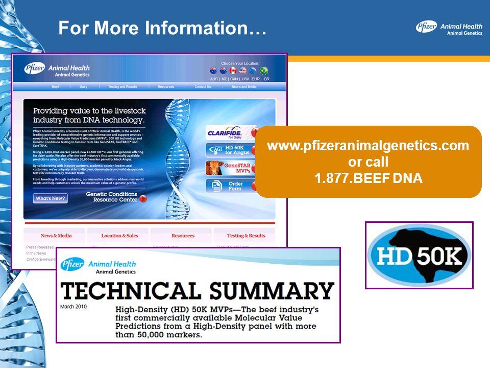 For More Information… www.pfizeranimalgenetics.com or call